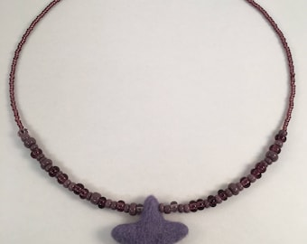 Beaded Felt Star Necklace (Lilac)