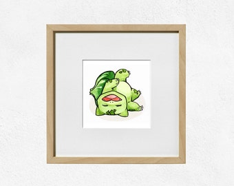 Bulbasaur Art Print - Original Starter Pokemon - Watercolour Painting