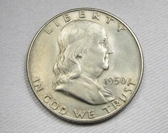 1950 D Franklin Half Dollar FBL UNC PLUS Coin