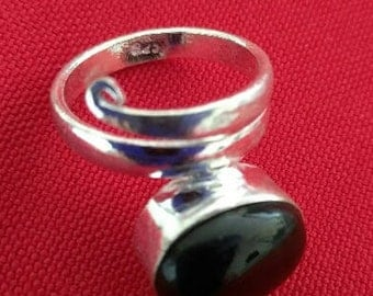 Stamped Silver Black Onyx Ring