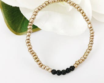 Diffuser Bracelet Gold With Lava Beads Minimalist Simple Stretchy