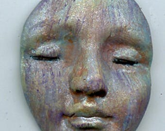 """Polymer clay One of a kind Ancient One Abstract  Undrilled 1 1/2""""  face cab ACO 9"""