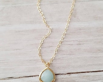 Jade Necklace, Gold Necklace, Layering Necklace, Gift for Her, Mint Gold Necklace, Dainty Necklace, Stone Necklace