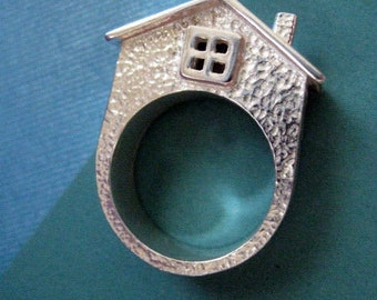 Sterling Silver Chunky Statement Ring - House Ring - Bold Jewelry
