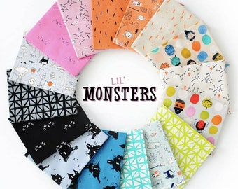 Lil Monsters Fat Quarter Bundle - by Cotton + Steel - Halloween 2017 complete collection, 16 prints - 100% quilting cotton