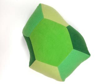 Geometric Peridot or Emerald Gem Pillow - Alternative August Birthstone Gift