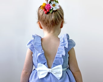 Navy and White Seersucker Dress for toddler, girl, flower girl and birthday