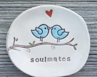 Soulmates Lovebirds Dish, wedding Ring holder, anniversary gift, engagement keepsake, valentines day, sweetheart