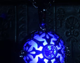 Glowing necklace pendant, locket with blue glowing LED orb and blue opal stone