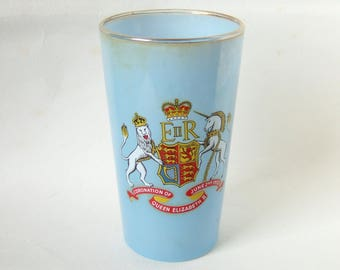 1953 Coronation Glass Tumbler - Vintage Royal Souvenir Glass from Southampton for Queen Elizabeth II Coronation