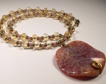 Agate and Citrine Pendant Necklace, Orange Agate Necklace, Agate Pendant, Orange Agate Pendant, Agate and Citrine necklace