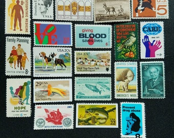 Twenty (20) vintage unused postage stamps from the 1950s-1990s - creepy, Hannibal-themed stamps. Lot #3