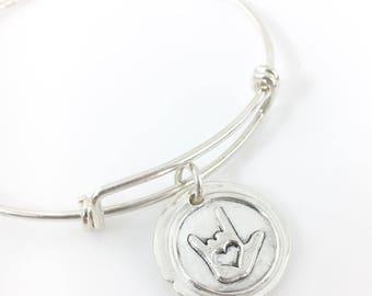 ASL I Love You | Wax Seal Inspired Bangle Bracelet