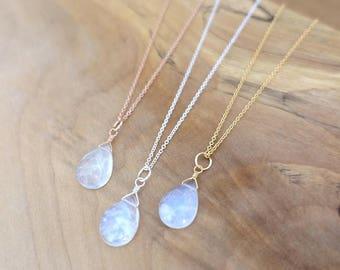 Rainbow Moonstone Necklace, Rose Gold Moonstone Necklace, Rose Gold Filled Moonstone Necklace, Sterling Silver Rainbow Moonstone Necklace