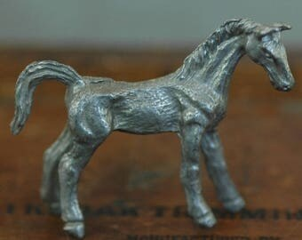 Vintage miniature pewter horse tiny pony patina figurine metal farm animal foal