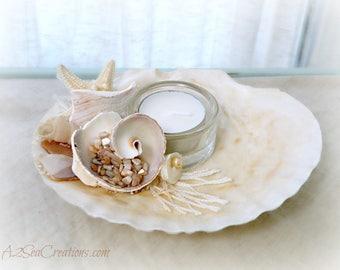 Coastal Decor - Tealight Holder - Scallop Shell & Starfish