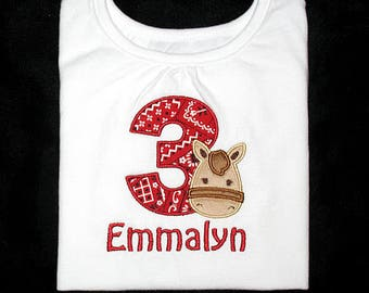 Custom Personalized Applique Birthday Number with Minky HORSE and NAME Bodysuit or Shirt - Red Bandana, Tan, and Brown