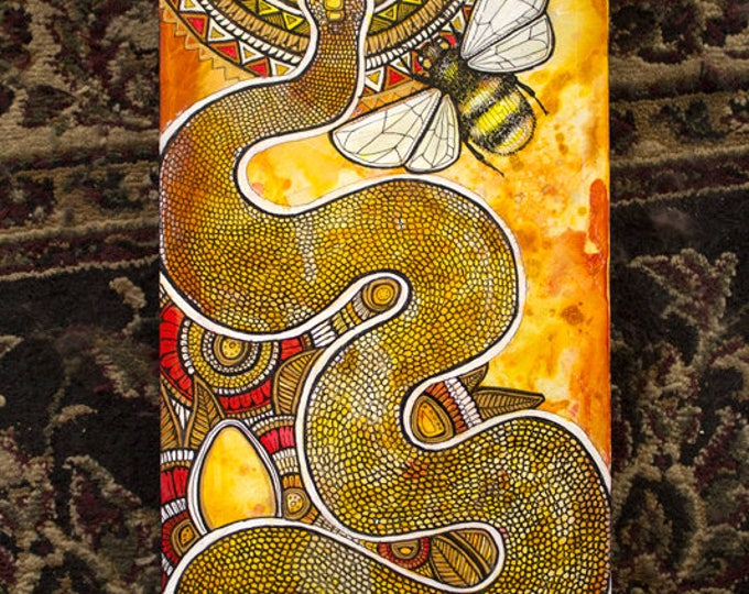 "Original ""Ascension"" Mystical Snake and Bee Painting by Lynnette Shelley"