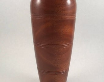 African Mahogany Wood Vase