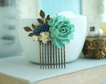 Green Wedding Comb Navy and Green Wedding Comb Blue Ivory Shade Floral Hair Comb Woodland Green Flower Hair Accessories Navy Blue Hair Piece