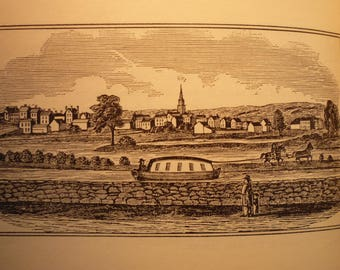 Millbury Massachusetts Town Engravings - New England Antiquarian Society - framable gift town history 1800 historic scene Blackstone Valley