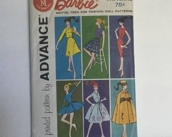 Vintage 1961 Group B Advance Patterns For Barbie Wardrobe - Mattel Teen Age Fashion Doll -  Barbie, Midge, Mitzi, Gina, Kay, Babs