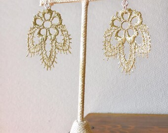 Antiqued Gold Lace Earrings - Sterling Silver