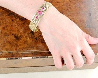 1920s 10k Gold Filigree Bangle Bracelet | Pink Gold Bangle | Filigree Bracelet | Antique Art Deco Bracelet