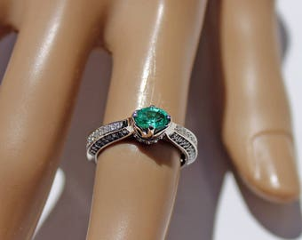 Columbian Emerald Engagement Ring, Columbian Emerald Ring, Emerald Diamond Ring, Natural Emerald, Unique Ring, Gift for Her, Appraisal