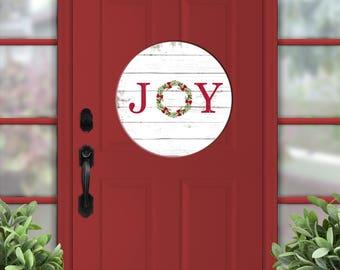 """Christmas sign, wooden joy sign, 18"""" round sign, door sign, Christmas welcome, door hanger, wreath sign, wood door hanger, rustic Christmas"""