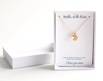 Mother of the Bride Gift From Daughter - Wedding Gift for Mom - Mother of the Bride Gift From Bride - Mother of Bride Necklace, Mom of Bride