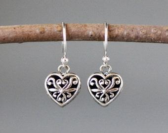 Silver Heart Earrings - Bali Silver Earrings - Silver Heart Charms - Filigree Silver - Heart Dangles - Romantic Jewelry - Love Jewelry