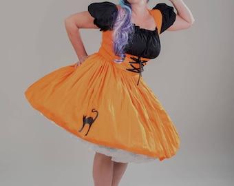 Witch  Halloween Costume Cute Witch Dress Pin Up Salem Witch  Womens Adult Orange Black Dress Custom Size including Plus Sizes Handmade