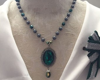 Green & Silver Serpent House Wizard Necklace