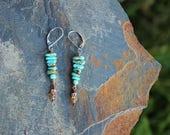RARE Number 8 Turquoise & Imperial Topaz Earrings, OOAK Handmade Wearable Art, Handcrafted Artisan Sterling Silver Earrings