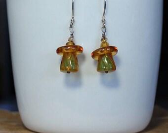 Glass Beads Dangle Earrings