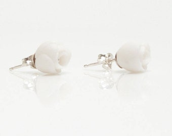 White Porcelain Earrings ∙ EL PASO ∙ Peony Flower Sterling Silver Studs ∙ Porcelain Jewelry ∙ Ceramic Jewellery ∙ Gift For Her