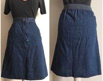 Vintage Denim Lacoste Skirt // Lacoste Izod Jean Skirt