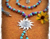 Healing SUN Necklace Crochet necklace Reiki jewelry Heart CHAKRA Turquoise Purple Sterling silver necklace Summer Yoga Festival GPyoga
