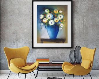 """Abstract floral painting, White flowers, Blue vase, Oil Canvas Original still life 16""""x20"""" contemporary art,mustard yellow and blue wall art"""