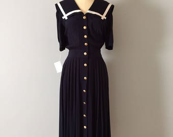 SAILOR collar dress // 1940s inspired button down maxi dress // midnight blue nautical dress