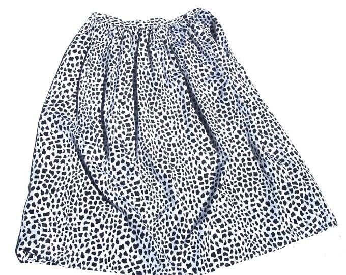 Flared Midi Skirt   80s vintage black and white organic print high waist aline tea length womens classic staple skirt medium M large L