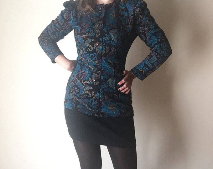 Baroque Sweater Dress | O-neck long sleeve bandage body con 90s 80s vintage button up black & gold buttons mini vintage DRESS small medium M