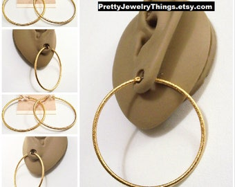 """Avon 2 1/8"""" Frosted Hoops Pierced Stud Earrings Gold Tone Vintage Pebbled Textured Thin Rib Open Big Rings Surgical Steel Posts"""