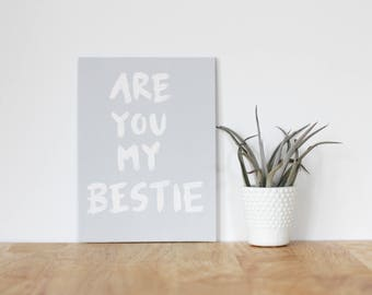 """gray wall art acrylic painting, """"are you my bestie"""" - are you my bestie, flat 6x8 canvas, gift for friend, best friends, portrait, gift"""