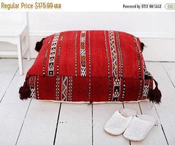 Autumn 30% Pouf Cushion Sale/ 23''x23'' x 7'' Tribal Vintage Moroccan pouf, Red Berber pouffe, Floor cushion, Moroccan pouf, Floor pouf
