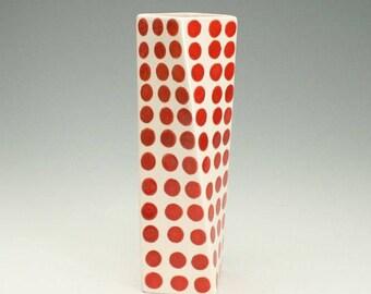 Red Polka Dot Ceramic Flower Vase, Tall Modern Pottery Vase, Polka Dot Ceramics, Twisted Vase, Red Dotted Vase, Office Desk Accessories