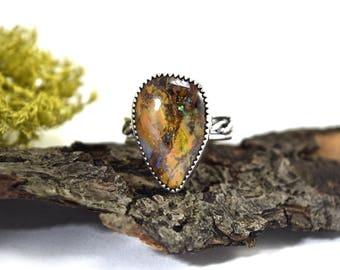 Boulder Opal Ring - Size 8 - Australian Boulder Opal Jewelry - Matrix Opal Ring - Sterling Silver Opal Ring