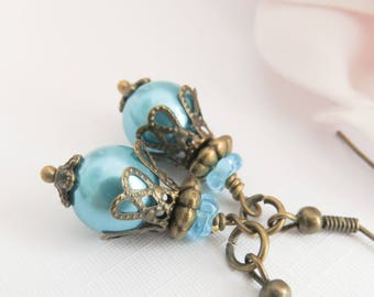Victorian blue pearl earrings, dangle earrings, vintage style jewelry, dangle and drop, brass and bronze, gift for her