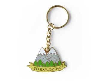 Go Exploring Enamel Keychain - Mountains Nature Keyring